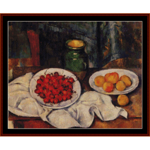 still life with cherries - cezanne cross stitch pattern by cross stitch collectibles