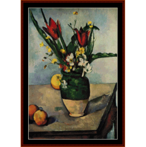 still life with tulips - cezanne cross stitch pattern by cross stitch collectibles