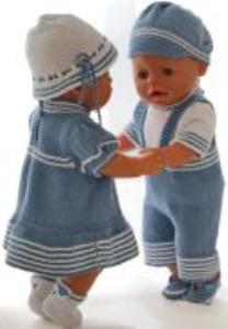 dollknittingpatterns 0175d liss & lucas - kjole, truse, hatt, sko, bukse med korte ben, bluse, lue og sko-(norsk)