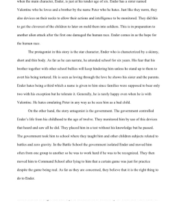 2 page book report enders game by orson scott card