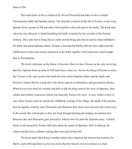 gates of fire by steven pressfield  2 page book report