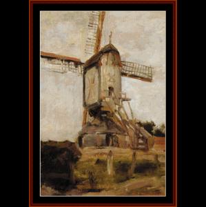 Windmill - Mondrian cross stitch pattern by Cross Stitch Collectibles | Crafting | Cross-Stitch | Wall Hangings