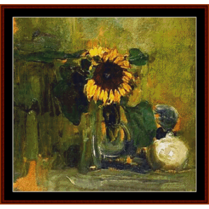 still life with sunflower - mondrian cross stitch pattern by cross stitch collectibles