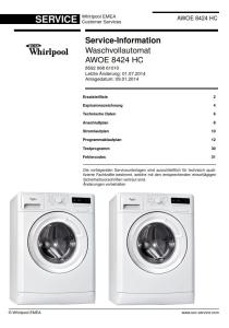 whirlpool awoe 8424 hc waschmaschine serviceanleitung