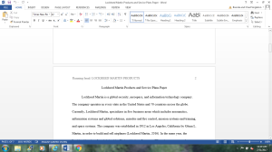 Lockheed Martin Products and Service Plans Paper | Documents and Forms | Research Papers