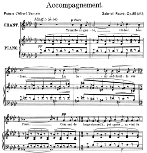 accompagnement op.85 no.3, high voice in a-flat major, g. fauré. for soprano or tenor. ed. leduc (a4)