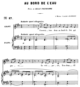 au bord de l'eau op.8 no 1, high voice in c-sharp minor, g. fauré. for soprano or tenor. ed. leduc (a4)