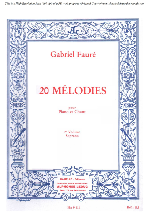 First Additional product image for - Aurore Op.39 No.1, High Voice in G Major, G. Fauré. For Soprano or Tenor. Ed. Leduc (A4)