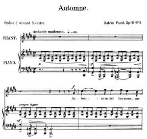 Automne Op.18 No.3, High Voice in D-Sharp minor, G. Fauré, Ed. Leduc (A4)   eBooks   Sheet Music