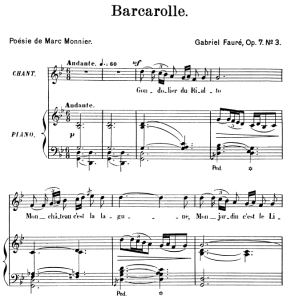 Barcarolle Op.7 No.3, High Voice in G minor, G. Fauré. For Soprano or Tenor. Ed. Leduc (A4) | eBooks | Sheet Music