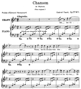 chanson (shylock) op.57 no.1, high voice in b-flat major, g. fauré. for soprano or tenor. ed. leduc (a4)