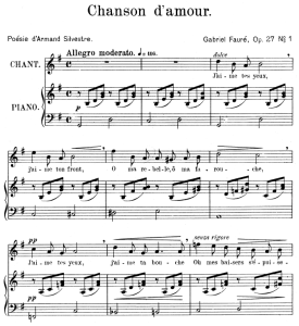 chanson d'amour op.27 no.1, high voice in g major, g. fauré. for soprano or tenor. ed. leduc (a4)