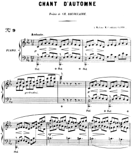 chant d'automne op.5 no 1, high voice in c minor, g. fauré. for soprano or tenor. ed. leduc (a4)