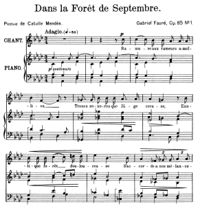 dans la forêt de septembre op.85 no.1, high voice in a-flat major, g. fauré. for soprano or tenor. ed. leduc (a4)