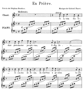 en prière, high voice in f major, g. fauré. for soprano or tenor. ed. leduc (a4)