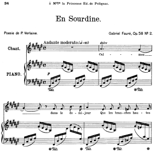 en sourdine op.58 no.2, high voice in f-sharp major, g. fauré. for soprano or tenor. ed. leduc (a4)