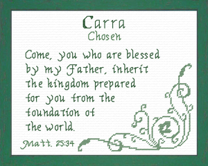 Name Blessings - Carra | Crafting | Cross-Stitch | Religious