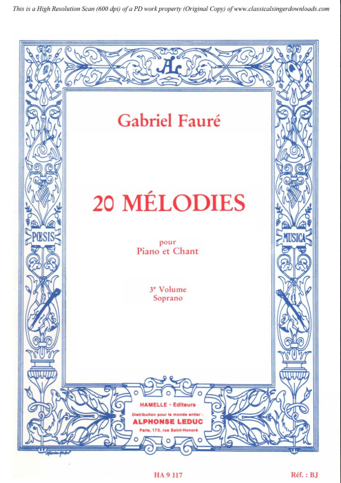 First Additional product image for - Green Op.58 No.3 in A-Flat Major, High Voice in A-Flat Major, G. Fauré. For Soprano or Tenor. Ed. Leduc (A4)