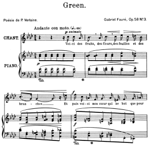 green op.58 no.3 in a-flat major, high voice in a-flat major, g. fauré. for soprano or tenor. ed. leduc (a4)
