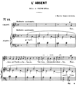 l'absent op.5 no 3, high voice in c minor, g. fauré. for soprano or tenor. ed. leduc (a4)