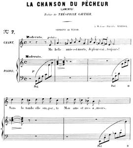 la chanson du pêcheur op.4 no.1, high voice in a minor, g. fauré. for soprano or tenor. ed. leduc (a4)