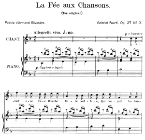 la fée aux chansons op.27 no.2, high voice in f major. for soprano or tenor. g. fauré, ed. leduc (a4)