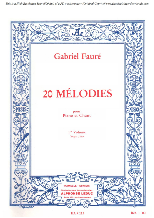 First Additional product image for - Le papillon et la fleur Op.1 No.1, High Voice in D Major, G. Fauré. For Soprano or Tenor. Ed. Leduc (A4)