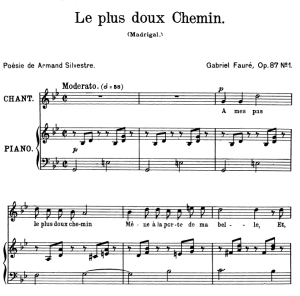 le plus doux chemin op.87 no.1, high voice in g minor, g. fauré. for soprano or tenor. ed. leduc (a4)