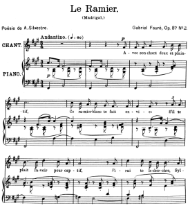 le ramier op.87 no.2, high voice in f-sharp minor, g. fauré. for soprano or tenor. ed. leduc (a4)