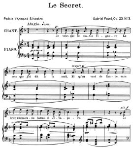 Le secret Op.39 No.3, High Voice in F Major, G. Fauré. For Soprano or Tenor. Ed. Leduc (A4) | eBooks | Sheet Music