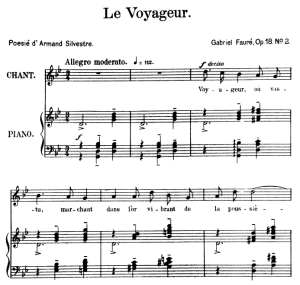 le voyageur op.18 no.2, high voice in g minor, g. fauré. for soprano or tenor. ed. leduc (a4)