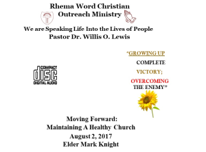 moving forward: maintaining a healthy church