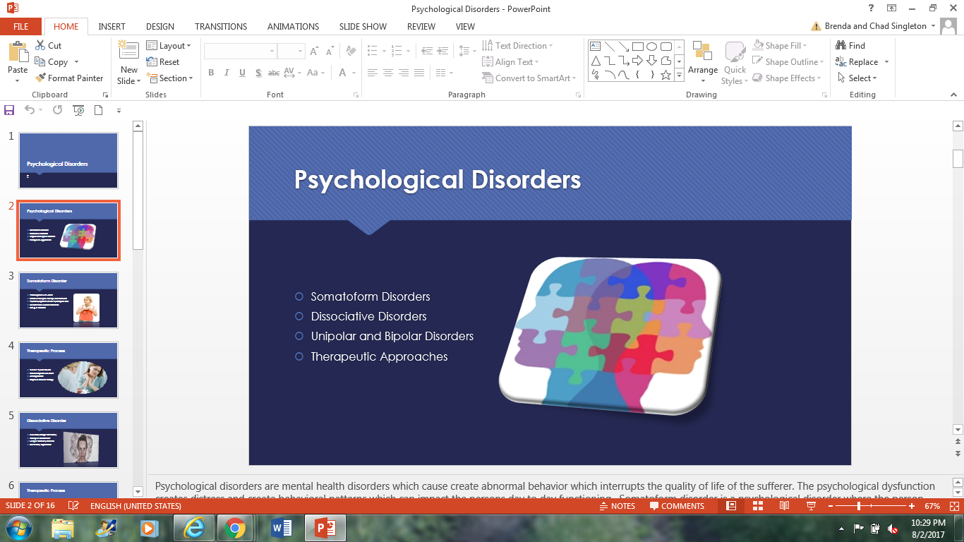 Research paper mental disorders