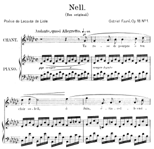 nell op.18 no.1, high voice in e-flat major, g. fauré. for soprano or tenor. ed. leduc (a4)