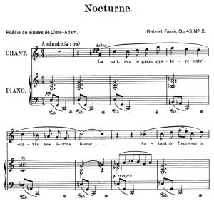nocturne op.43 no.2, high voice in c major, g. fauré. for soprano or tenor. ed. leduc (a4)
