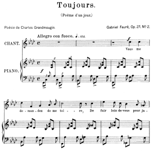 poème d'un jour (toujours) op.21 no.2, high voice in f minor, g. fauré. for soprano or tenor. ed. leduc (a4)