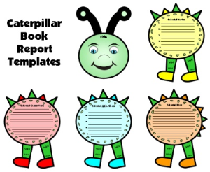 caterpillar book report set - colorful & story elements