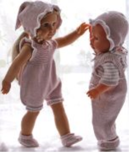 dollknittingpattern 0176d runa - short-legged suit, pants, short-sleeved sweater, bonnet, headscarf and shoes-(english)