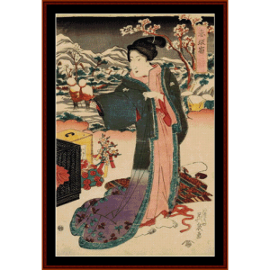 akasaka (asian art) cross stitch pattern by cross stitch collectibles