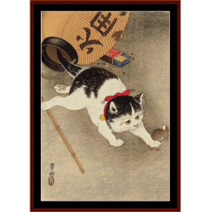 cat and mouse (asian art) cross stitch pattern by cross stitch collectibles