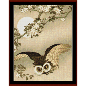 flying owl (asian art) cross stitch pattern by cross stitch collectibles