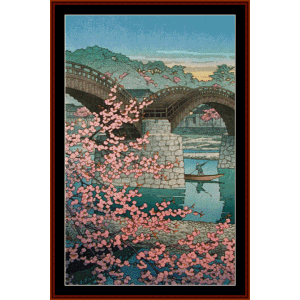 kintaibasha in spring (asian art) cross stitch pattern by cross stitch collectibles