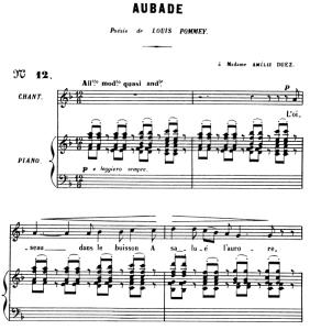 Aubade Op. 6 No.1, Medium Voice in F Major, G. Fauré, For Mezzo or Baritone. Ed. Leduc (A4) | eBooks | Sheet Music
