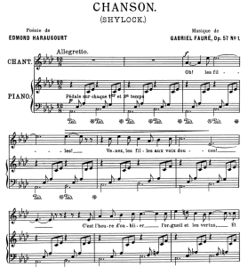 chanson (shylock) op.57 no.1, medium voice in a-flat major g. fauré, for mezzo or baritone. ed. leduc (a4)