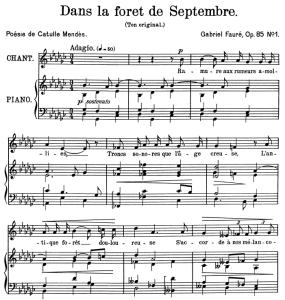 dans la forêt de septembre op.85 no.1, medium voice in g-flat major g. fauré. for mezzo or baritone. ed. leduc (a4)