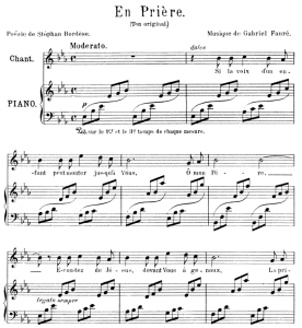 en prière, medium voice in e-flat major, g. fauré. for mezzo or baritone. ed. leduc (a4)