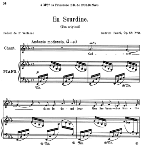 en sourdine op.58 no.2, medium voice in e-flat major g. fauré. for mezzo or baritone. ed. leduc (a4)