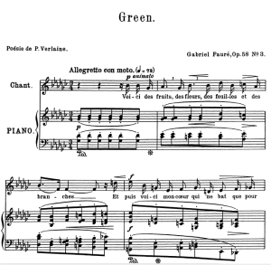 green op.58 no.3, medium voice in g-flat major, g. fauré. for mezzo or baritone. ed. leduc (a4)