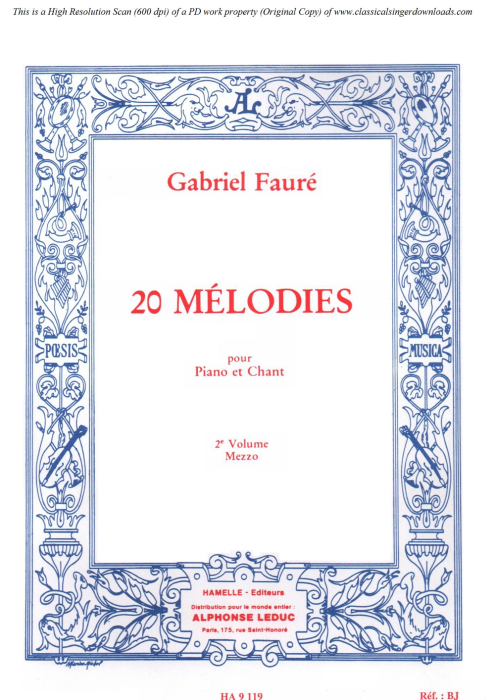 First Additional product image for - Fleur jetée Op. 39 No.2, Medium Voice in D minor, G. Fauré. For Mezzo or Baritone. Ed. Leduc (A4)