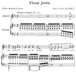 fleur jetée op. 39 no.2, medium voice in d minor, g. fauré. for mezzo or baritone. ed. leduc (a4)